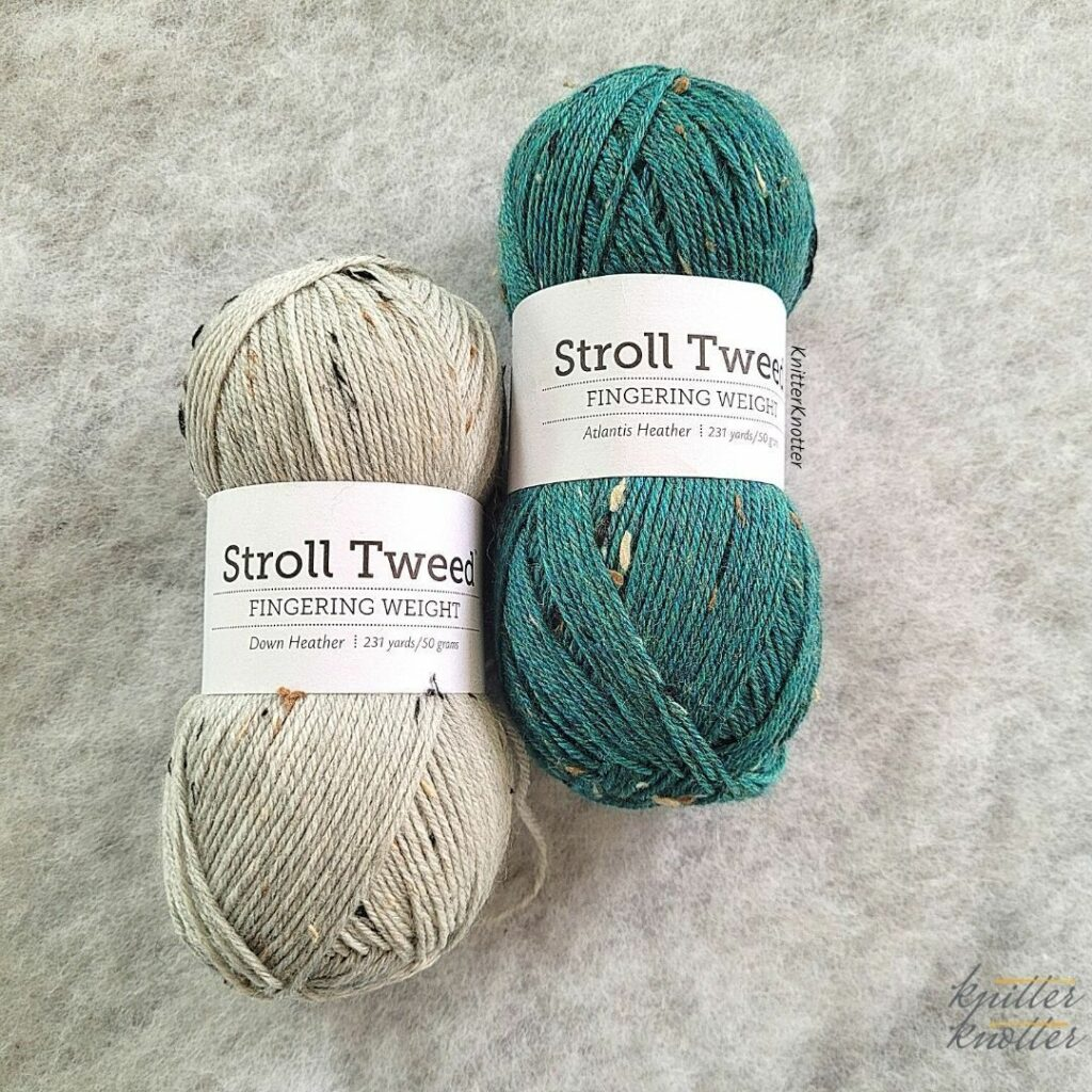 Stroll Tweed yarn by Knit Picks in colors Atlantis Heather and Down Heather - used to make the Kritika Tunisian Crochet Slippers.