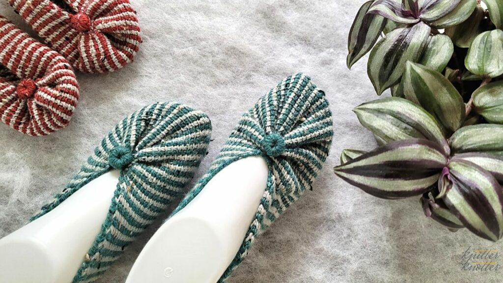 Tunisian Crochet slippers made from a rectangle using Tunisian Simple Stitches for mom and baby.