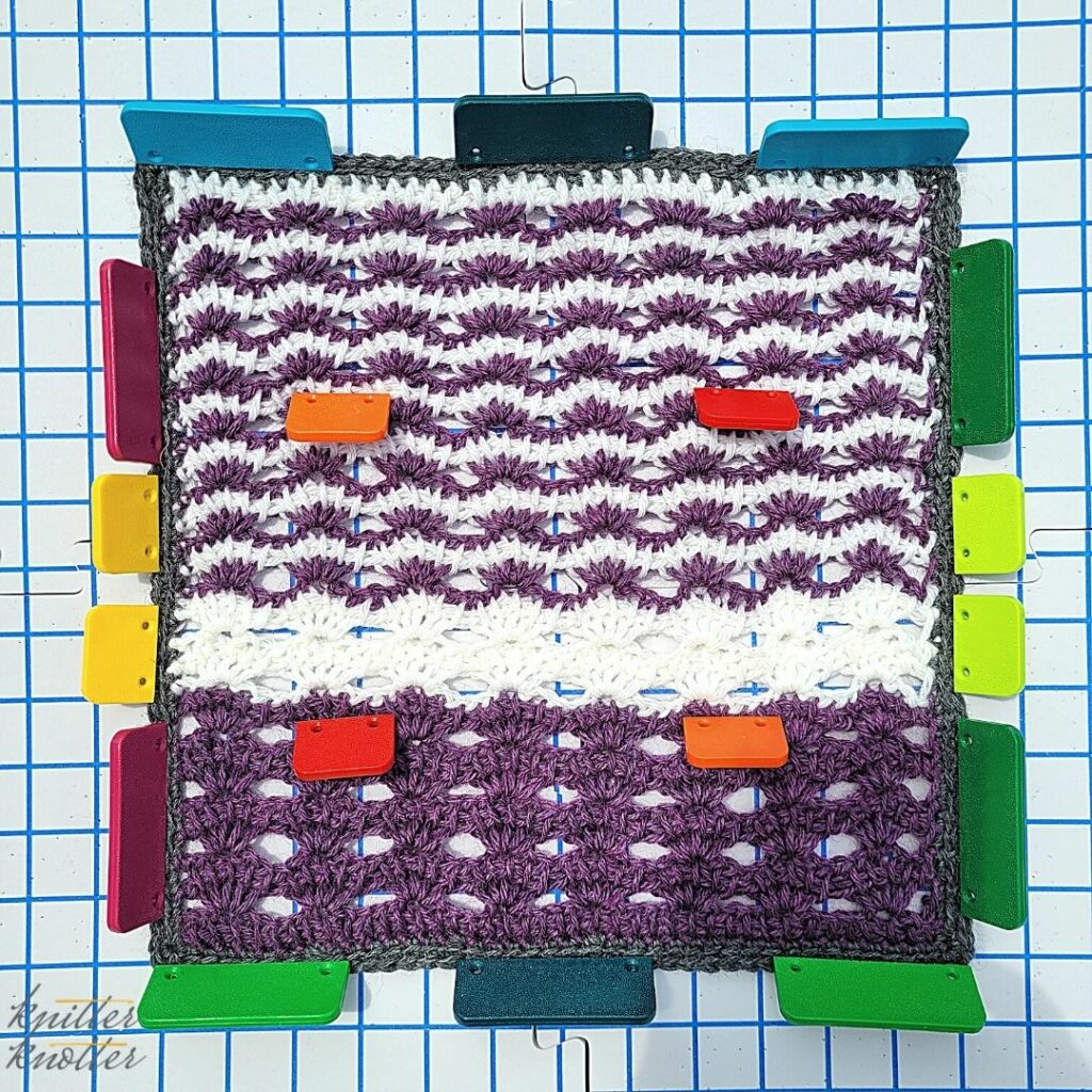 Blocking the block designed by Tahryn - lace crochet using tunisian simple stitch - 2021 CAL hosted by KnitterKnotter
