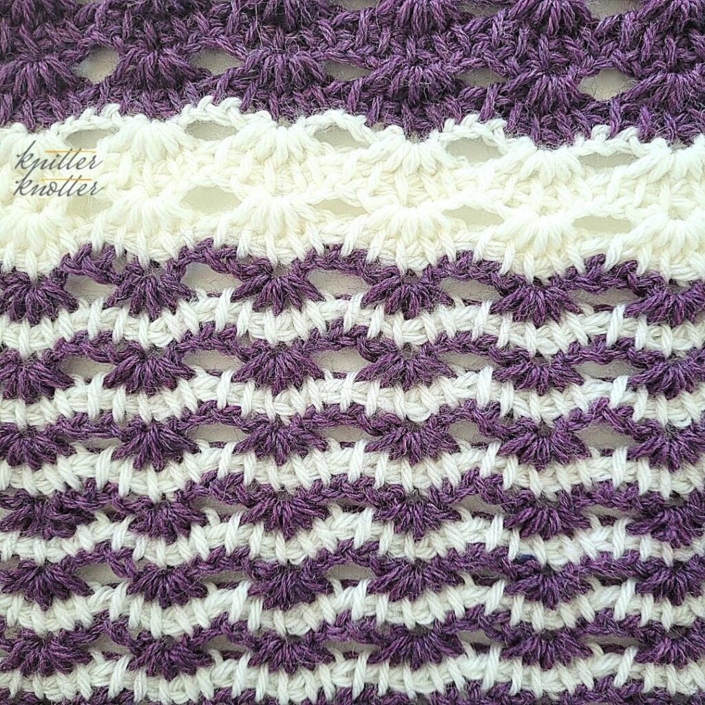 Close up of the sixteenth block of the crochet afghan from KnitterKnotter Blanket CAL of 2021
