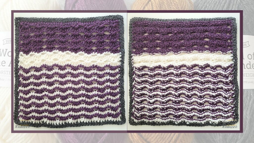 Front and back of the sixteenth square of the 2021 CAL hosted by KnitterKnotter