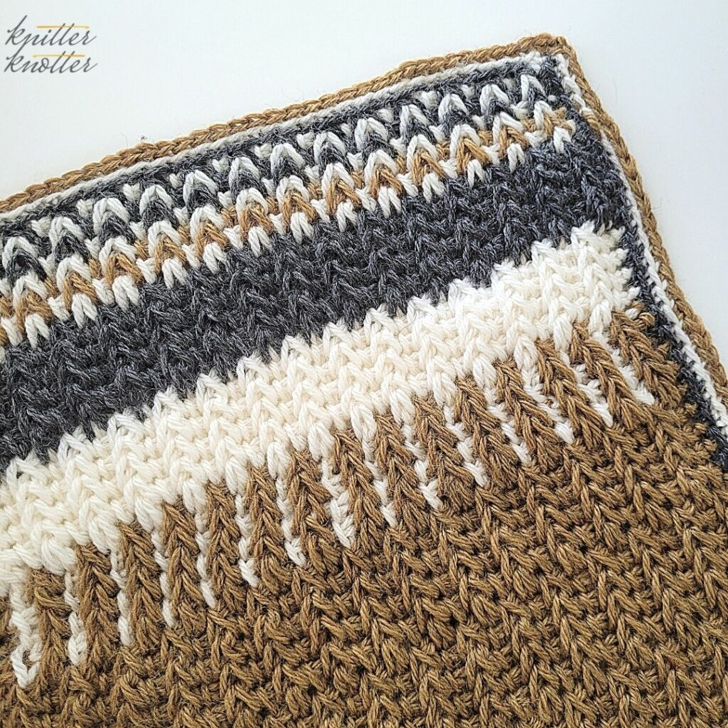 Crochet stitches for blankets - used tunisian simple stitch and tunisian full stitch worked together.