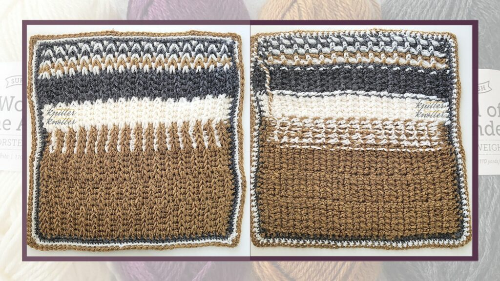 Front and back of the twentieth square of the 2021 CAL hosted by KnitterKnotter