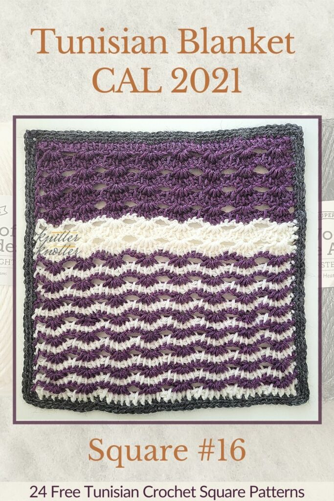 Pin for the sixteenth square of the Tunisian Blanket / Afghan CAL of 2021 hosted by KnitterKnotter - it is a lace crochet square pattern that comes with full details about how many yards are needed to crochet a blanket.