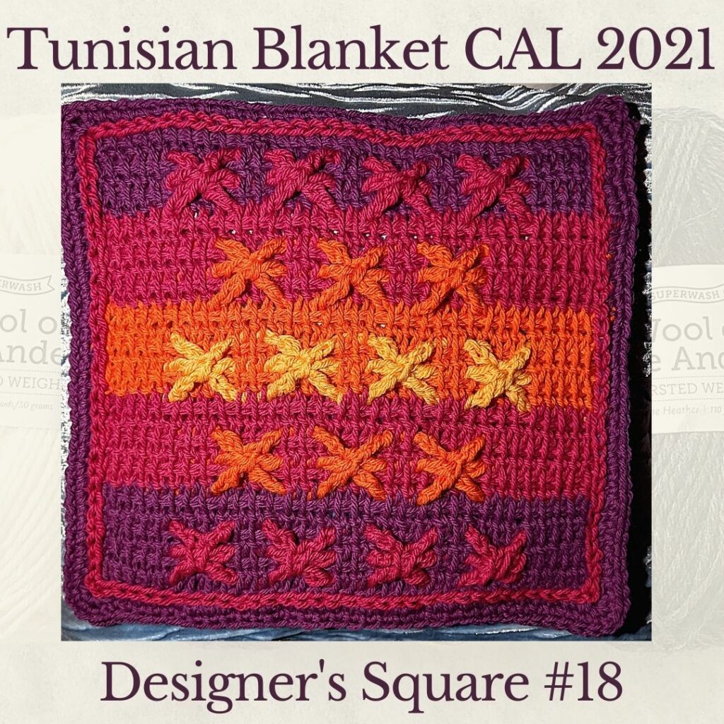 Embossed stars make up the eighteenth square crochet afghan pattern from the KnitterKnotter blanket CAL of 2021 - this is the designer's square.