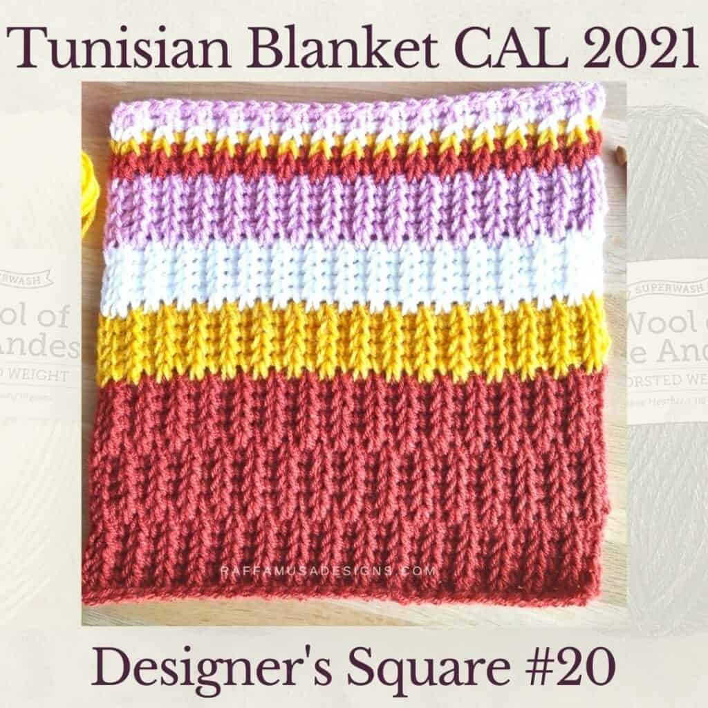 The twentieth square crochet afghan pattern from the KnitterKnotter blanket CAL of 2021. This is the designer's version.