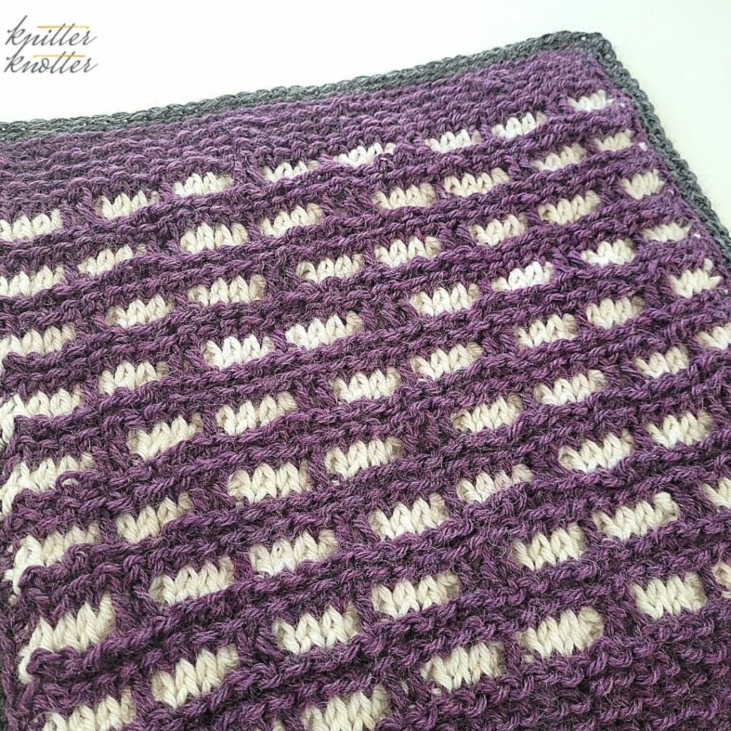 Crochet stitches for blankets - used tunisian knit stitch, tunisian reverse stitch and overlay stitches worked together.