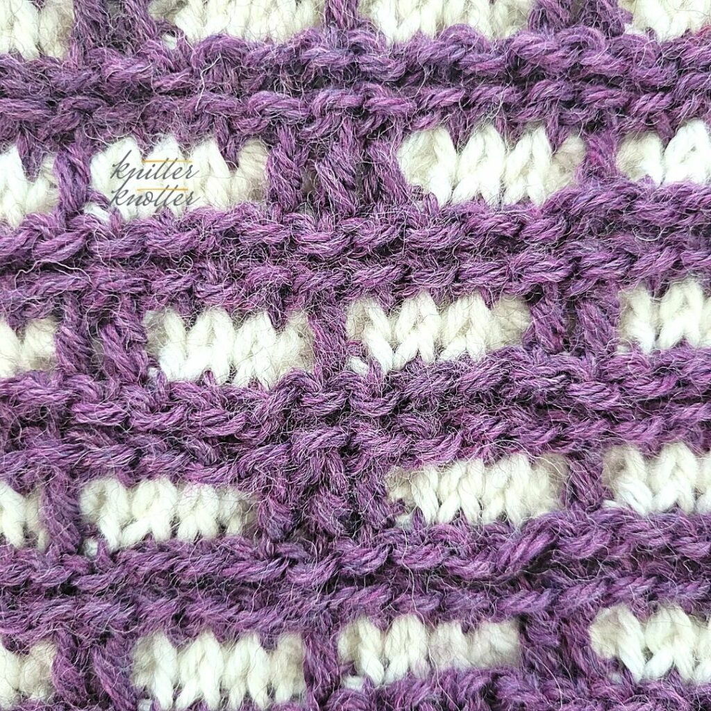 Close up of the seventeenth block of the crochet afghan from KnitterKnotter Blanket CAL of 2021