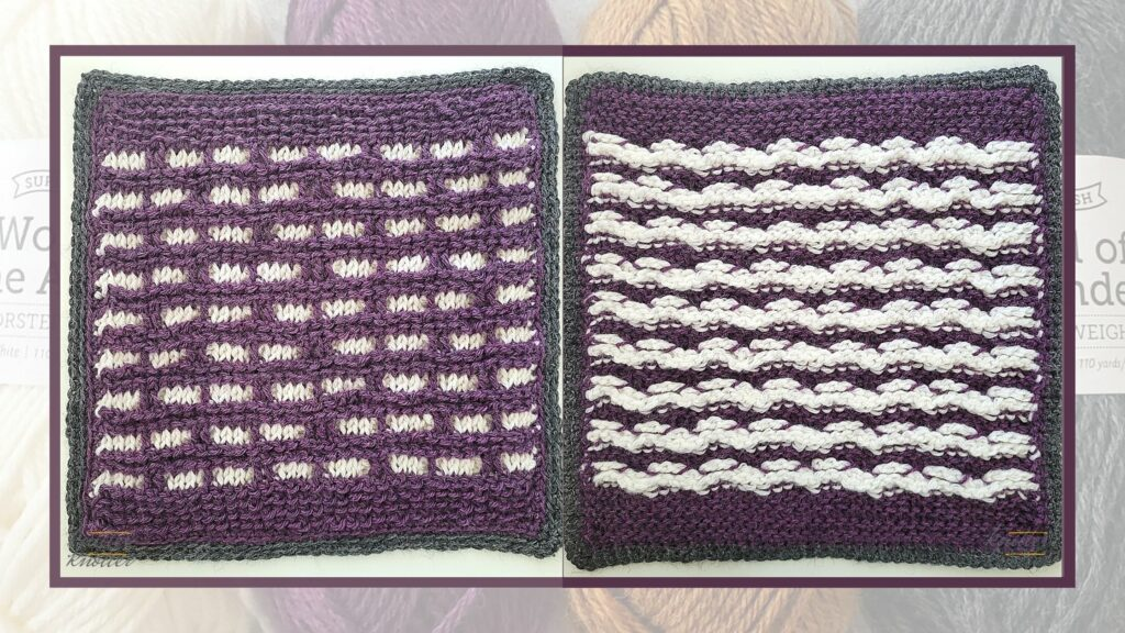 Front and back of the seventeenth square of the 2021 CAL hosted by KnitterKnotter