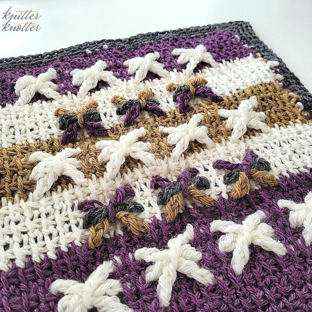 Crochet stitches for blankets - used tunisian simple stitch and tunisian extended stitch worked together.