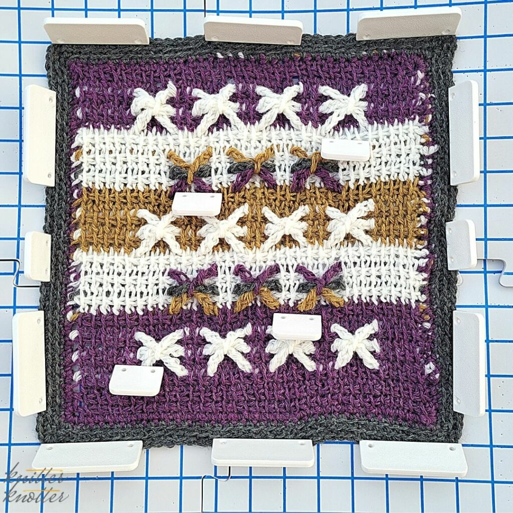 Blocking the block designed by Vashti - a star square using tunisian simple stitch and tunisian extended stitch - 2021 CAL hosted by KnitterKnotter