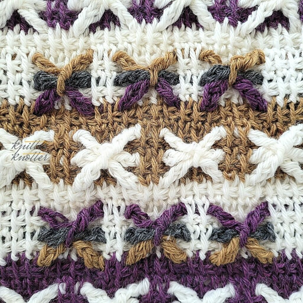 Close up of the eighteenth block of the crochet afghan from KnitterKnotter Blanket CAL of 2021