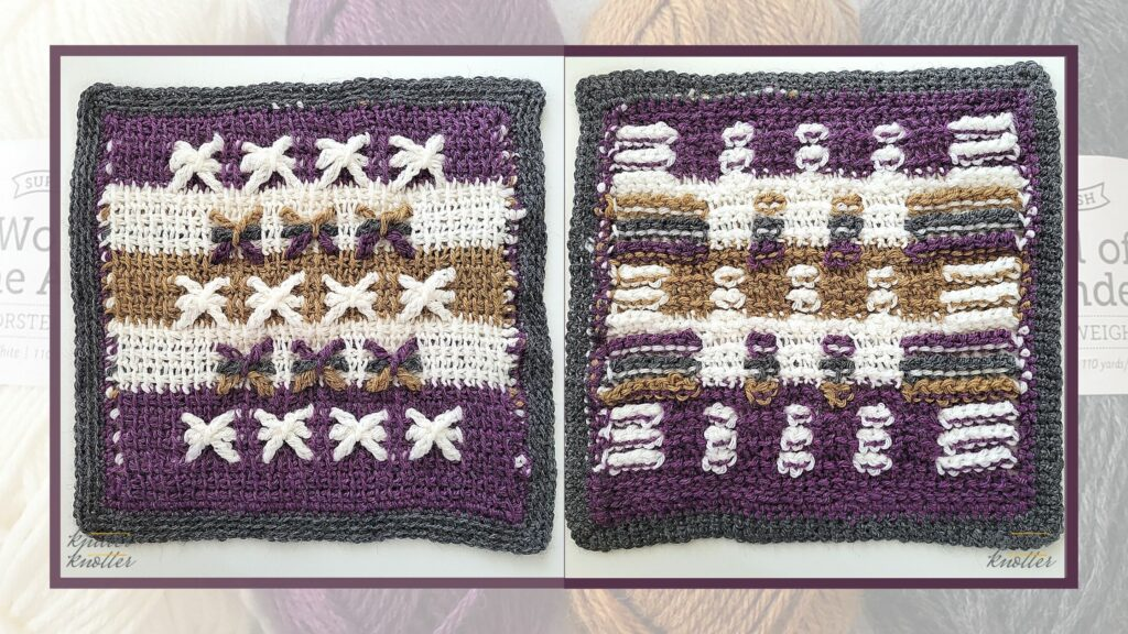 Front and back of the eighteenth square of the 2021 CAL hosted by KnitterKnotter