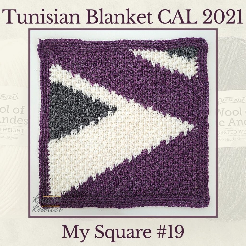 Tunisian simple stitches worked together with tunisian knit stitches and tunisian simple stitches - used to make the nineteenth square of the Tunisian Blanket CAL of 2021.