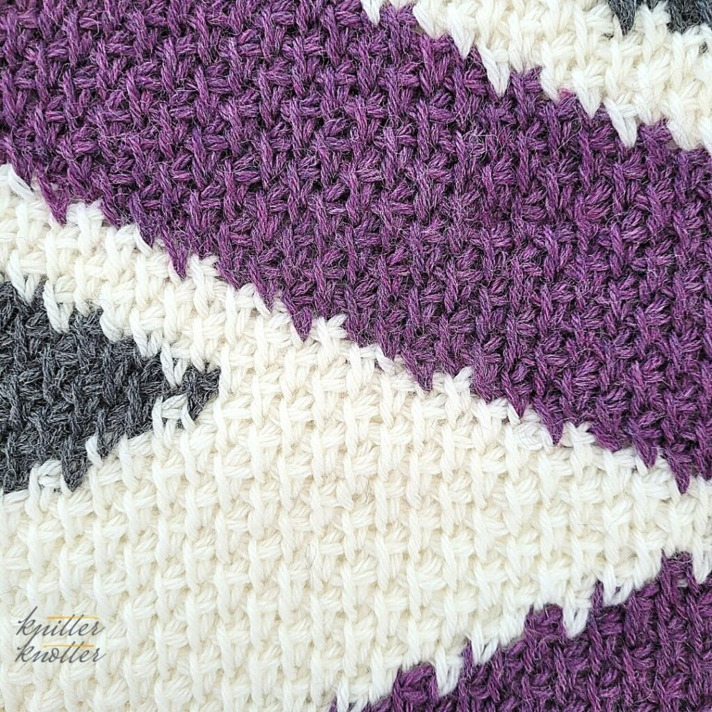 Close up of the ninteenth block of the crochet afghan from KnitterKnotter Blanket CAL of 2021.