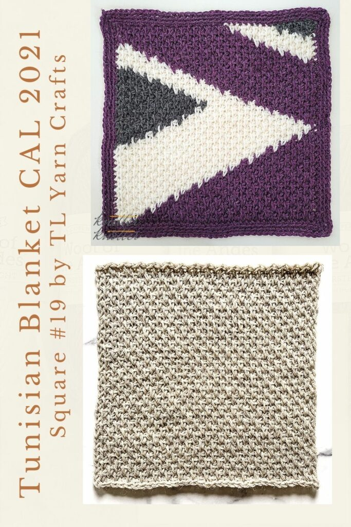 Pin for the ninteenth square of the Tunisian Blanket / Afghan CAL of 2021 hosted by KnitterKnotter - it is a textured crochet square pattern that comes with full details about how many yards are needed to crochet a blanket.