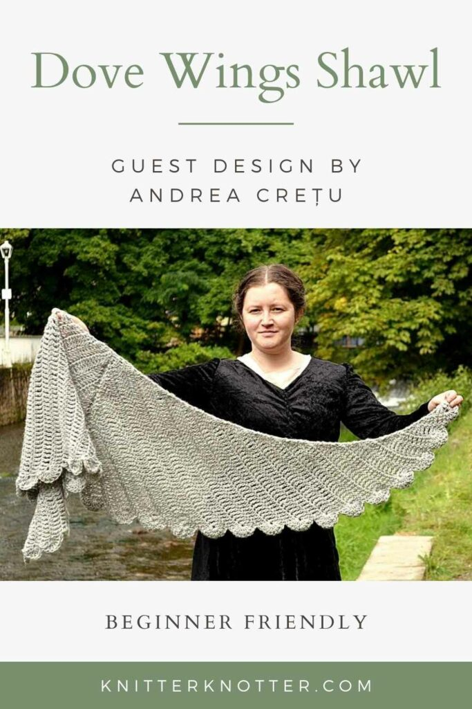 Pinnable image for the Dove Wings shawl that would be a perfect prayer shawl! This is an easy crochet Shawl Pattern that is beginner friendly. This image shows Andrea holding her shawl showing the stitch detail of the wings.