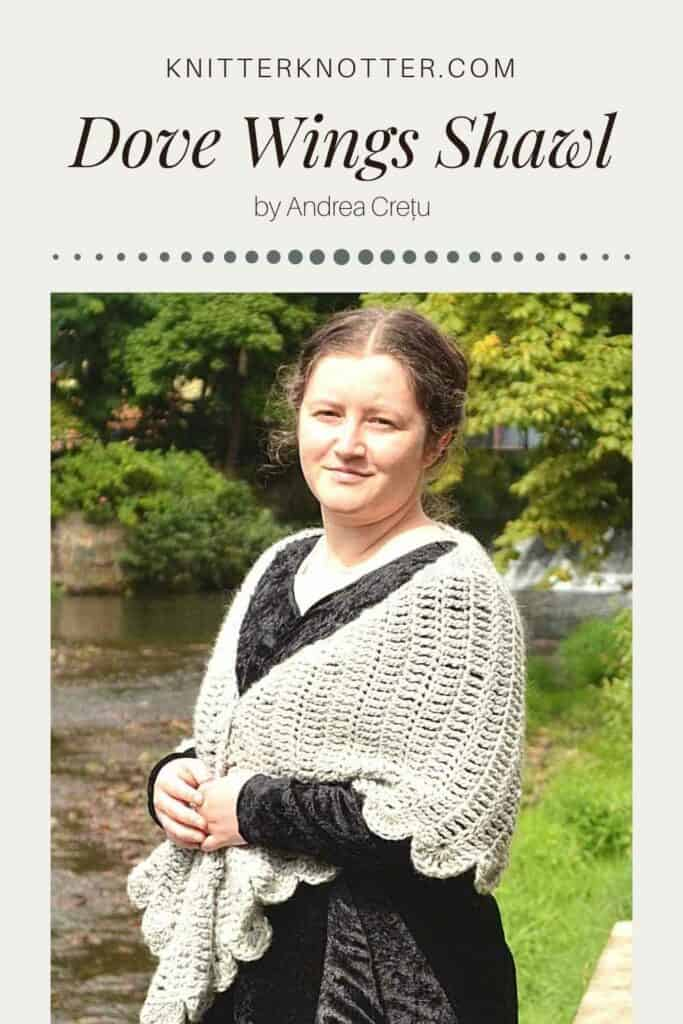 Dove Wings Shawl image for Pinterest. In this picture, Andrea is wearing her Dove wings shawl over a black dress. This shawl is beginner friendly and works up really quickly since it is made with Aran weight yarn.