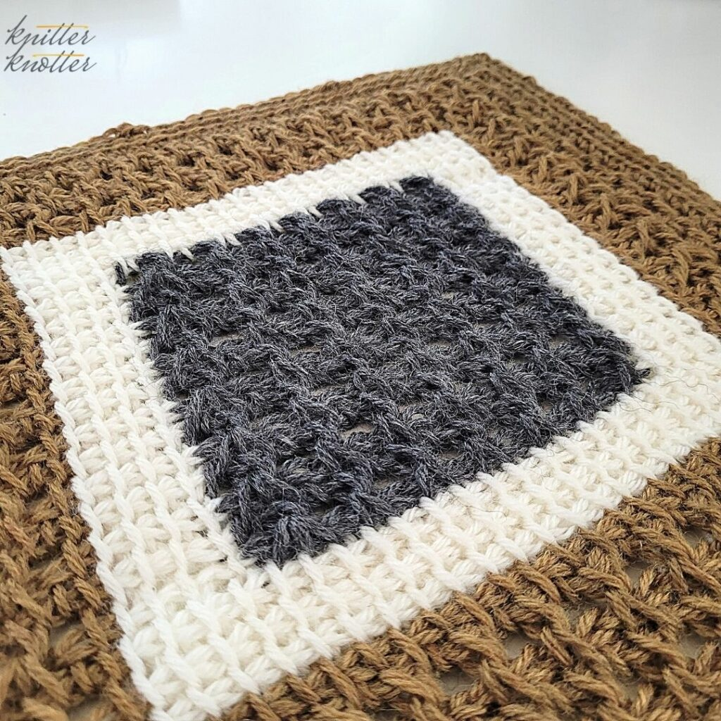 Crochet stitches for blankets - tunisian simple stitch and tunisian knit crochet worked together.