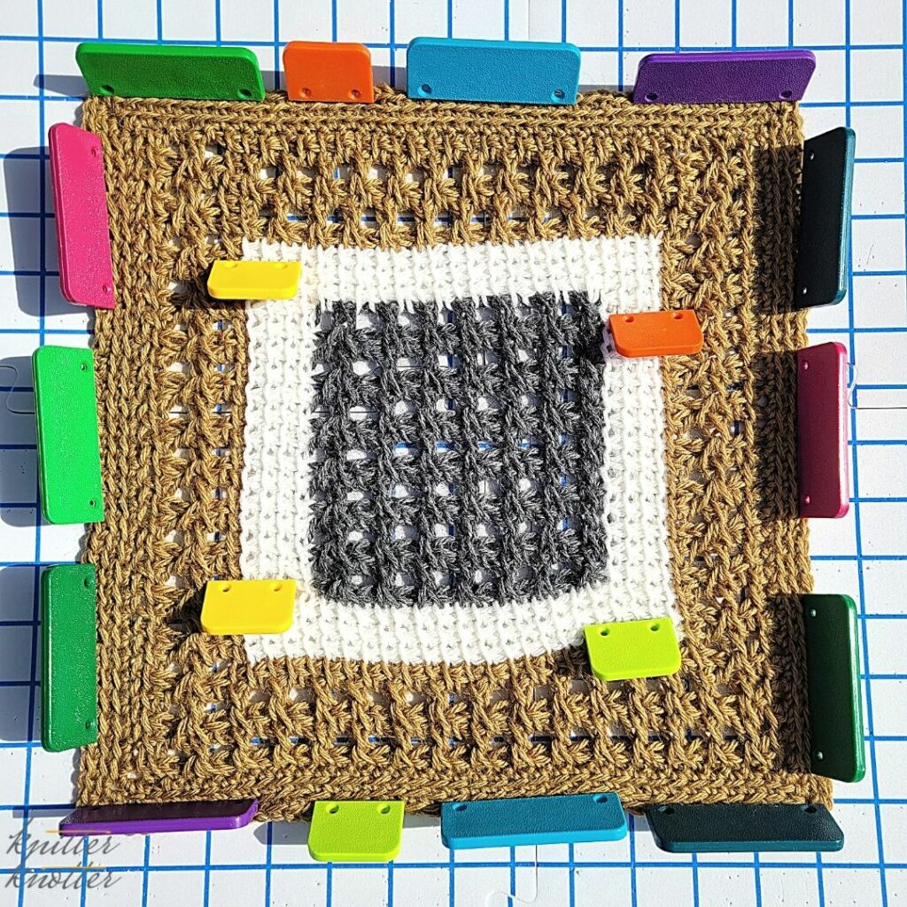 Blocking the block designed by Lori from Aklori Designs -  tunisian simple stitch and tunisian knit crochet - 2021 CAL hosted by KnitterKnotter