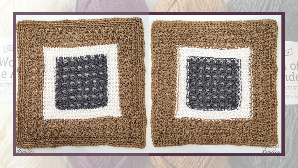 Front and back of the twenty first square of the 2021 CAL hosted by KnitterKnotter