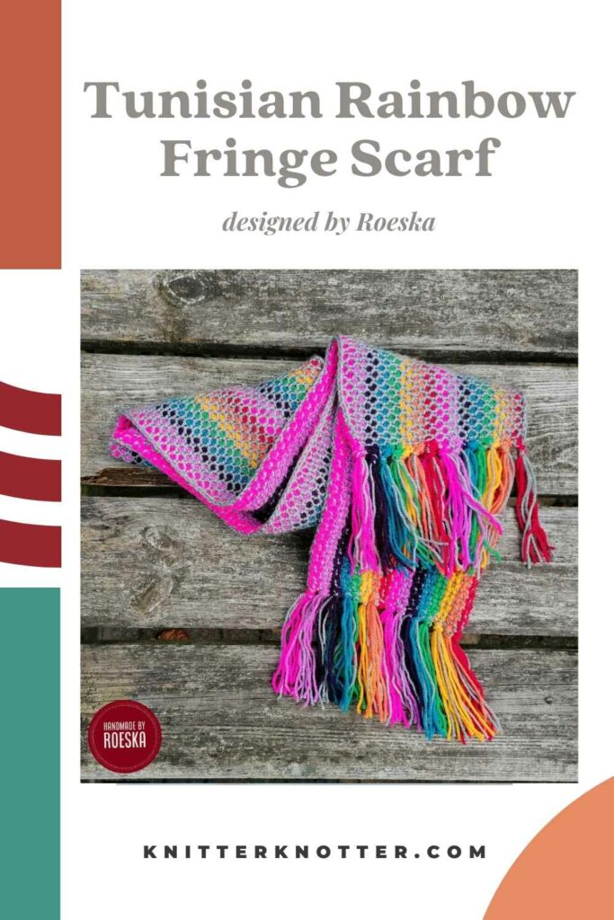 This tunisian crochet scarf is beginner friendly and has no ends to weave in (insert happy dance here)!! The fringe is lovely and makes a great project for kids and adults alike. This is a pinnable image for Pinterest.